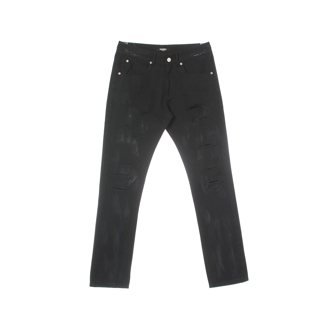 DESTROYED SLIM-FIT JEANS BLACK